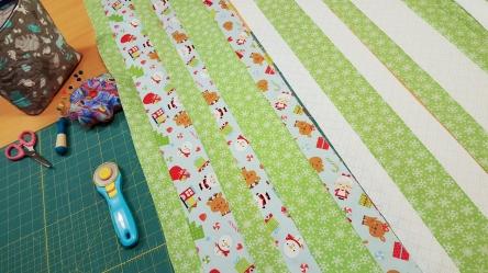 Strip sewing...isn't that Christmas print so cute?!