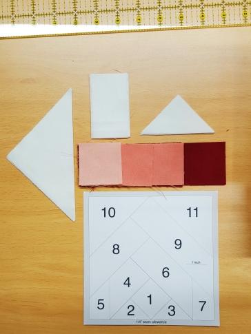 Template & cut fabric for poinsettia block